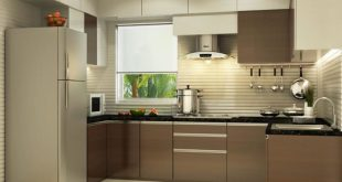 U shaped kitchen with modern cabinets and false ceiling