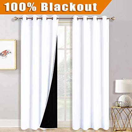 Amazon.com: RYB HOME Completely Blackout Lined Curtains with 2 Black