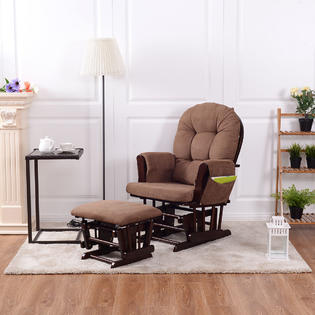 Goplus Baby Nursery Relax Rocker Rocking Chair Glider & Ottoman Set w/  Cushion Espresso