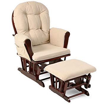 Beige Bowback Nursery Baby Glider Rocker Chair with Ottoman, Beige Cushions  - Cherry Finish -