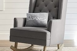 Modern Tufted Wingback Convertible Rocker & Ottoman