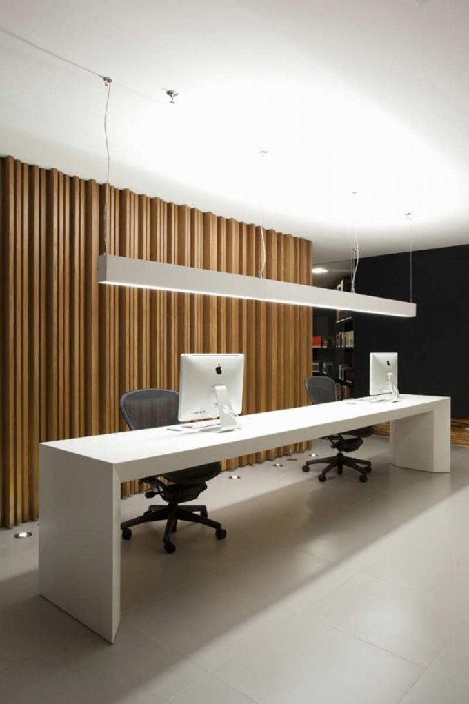 16 Incredible Office Interior Design Ideas For Your Inspirations :  Contemporary Office Receptionist Desk With White Desk And Apple Mac  Computers Along With