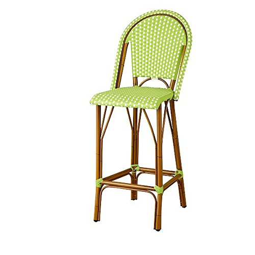 Amazon.com: Resin Wicker High Back Outdoor Bar Stool (Green & White
