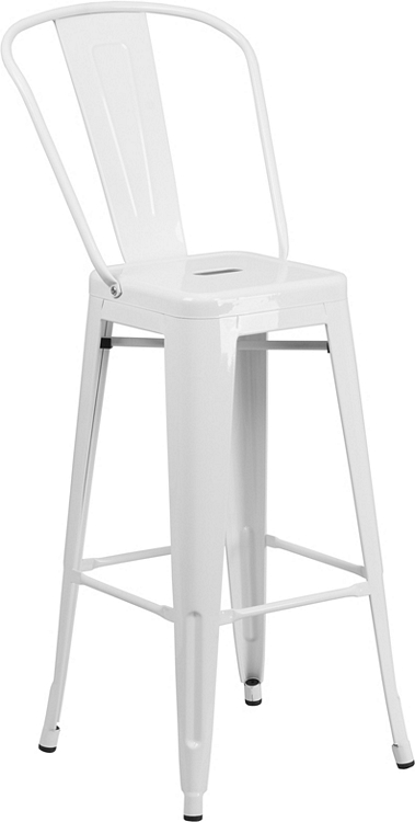 Flash Furniture 30'' High White Metal Indoor-Outdoor Barstool with Back