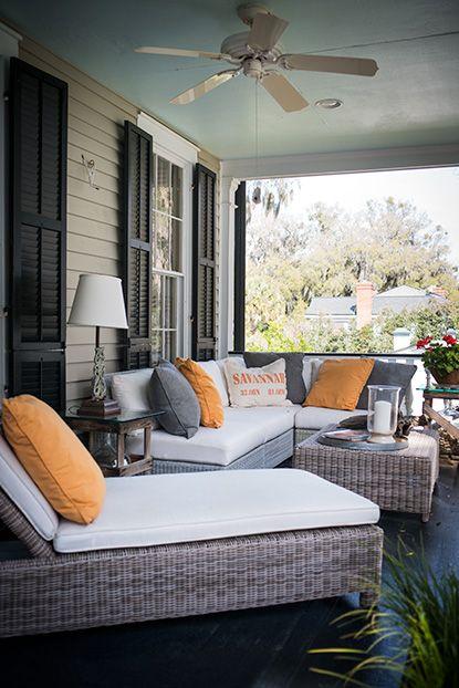 A modern Lowcountry porch. #savannah #southernhomes #gardenandgun