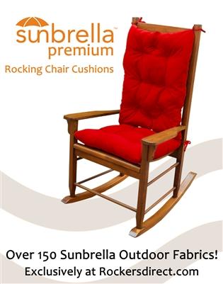 Sunbrella Rocking Chair Cushion Set - Red, Yellow & Orange Fabrics