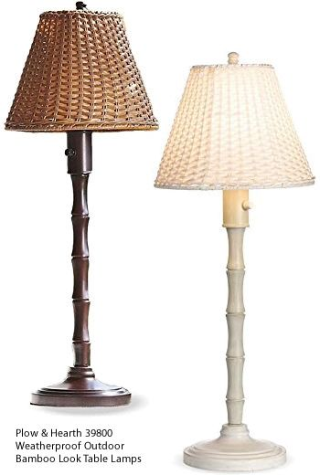 Plow & Hearth 39800 Weatherproof Outdoor Bamboo Look Table Lamps