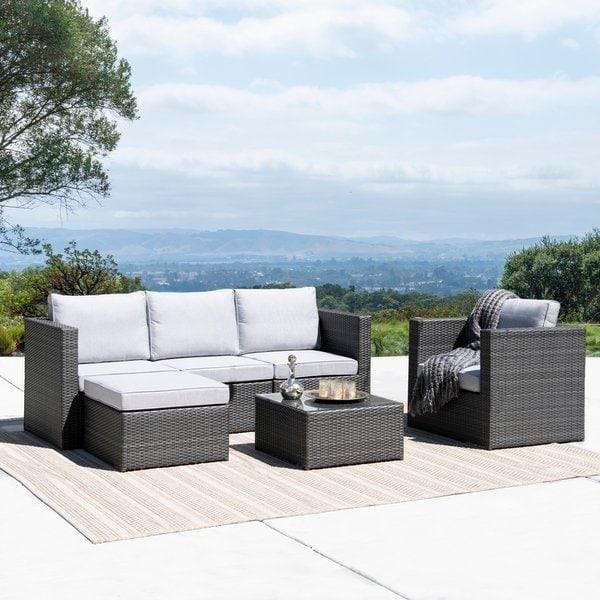 Shop Corvus Trey Outdoor 6-piece Wicker Sofa Set with Glass Top - On