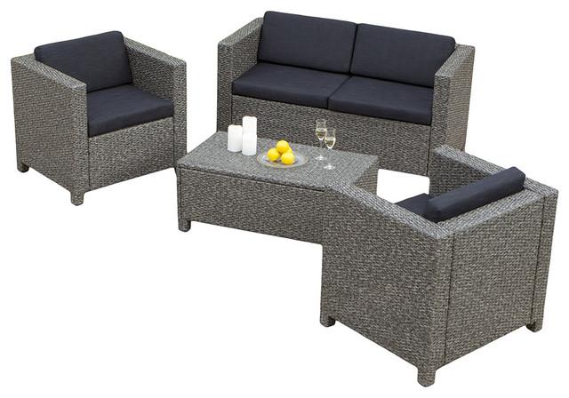 4-Piece Venice Outdoor Wicker Sofa Set - Contemporary - Outdoor