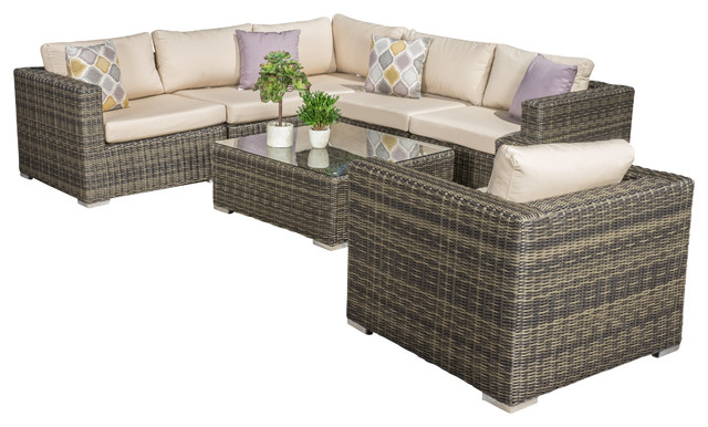 7-Piece Henderson Outdoor Wicker Seating Sectional With Sunbrella