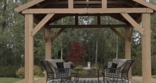 Outdoor Wooden Gazebo 14x12 Pavilion Metal Roof for Patio Furniture