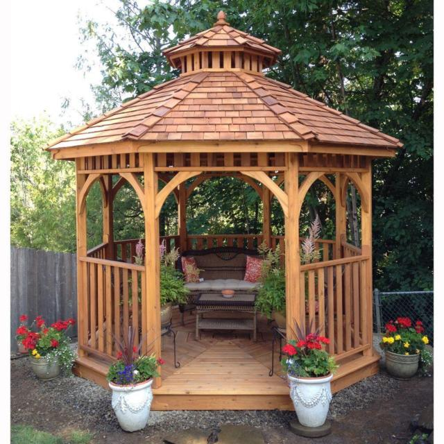 Outdoor Wooden Gazebo - Steval Decorations