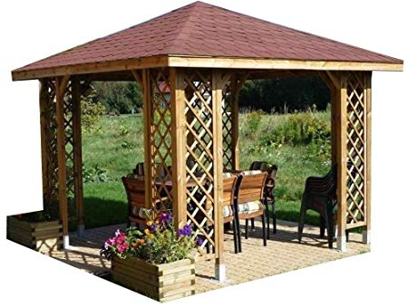 10ft x 10ft (Ex 12ft x 12ft) GARDEN WOODEN GAZEBO WITH OPTIONAL