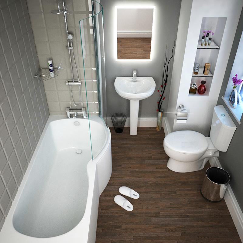 P Shape Bath Suite with shower valve and taps Shower Bath Suite Contemporary