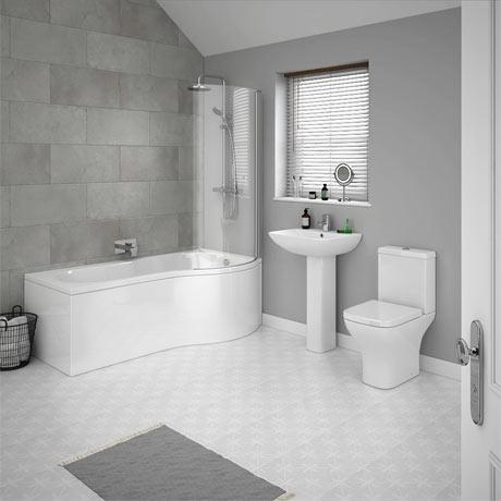 P shaped shower bath suites for calmness