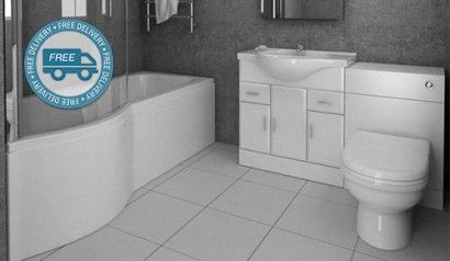 P Shape Shower Bath With Vanity Furniture Suite