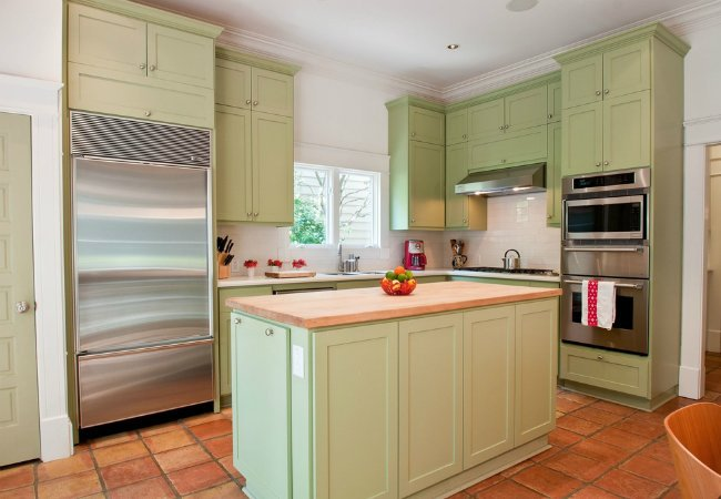 Painting Laminate Cabinets - Green Kitchen Cabinets