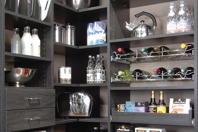 Custom kitchen organization system in gray with drawers, baskets and tray  organizer