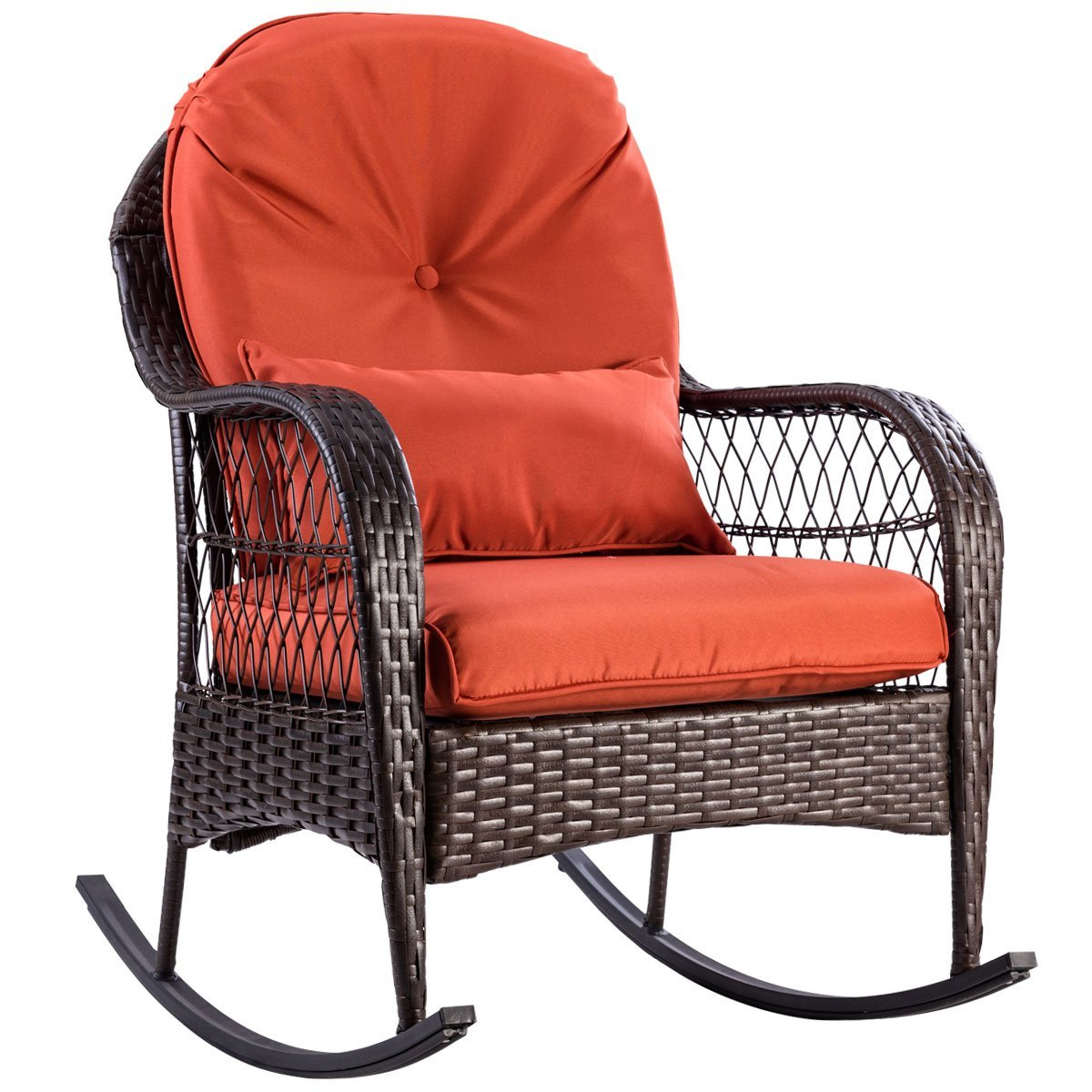 Get Quotations · TANGKULA Wicker Rocking Chair Outdoor Porch Garden Lawn  Deck Wicker All Weather Steel Frame Rocker Patio