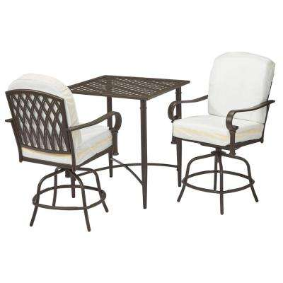 Oak Cliff Custom 3-Piece Metal Outdoor Balcony Height Bistro Set with  Cushions Included,