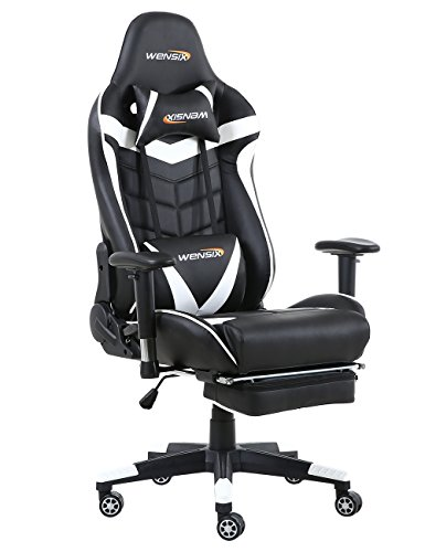 WENSIX Ergonomic High Back Computer Gaming Chair for PC Racing Chairs with  Adjustable Footrest (White) - Best Buy Laptops