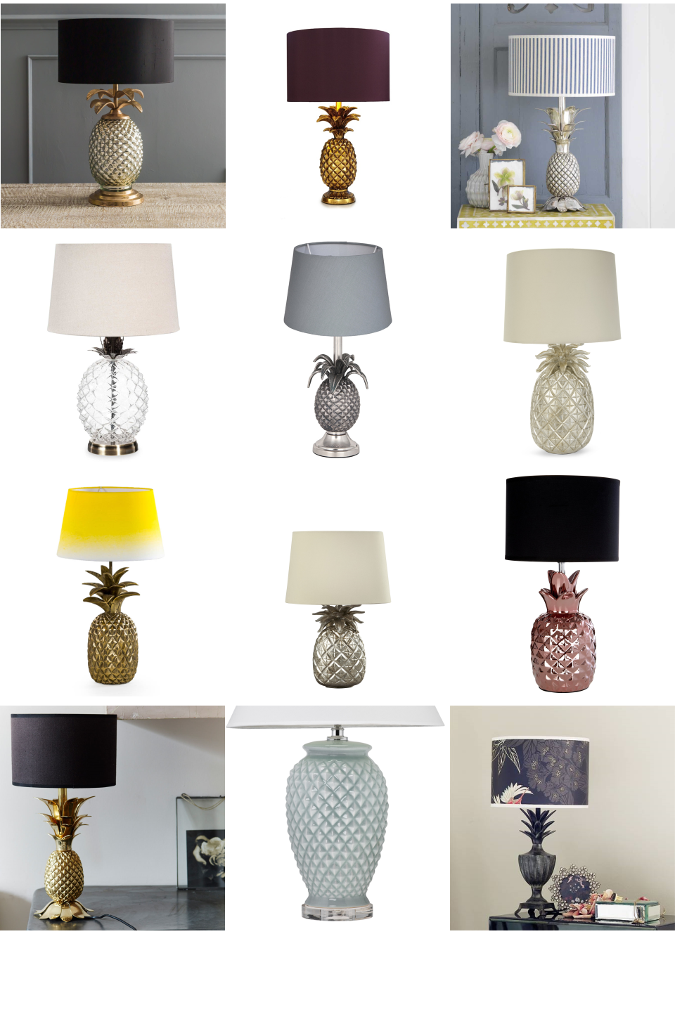 Pineapple Lamps Inspiration Board. Light up your home in style with these  beautiful pineapple table lamps. This selected range includes popular gold,