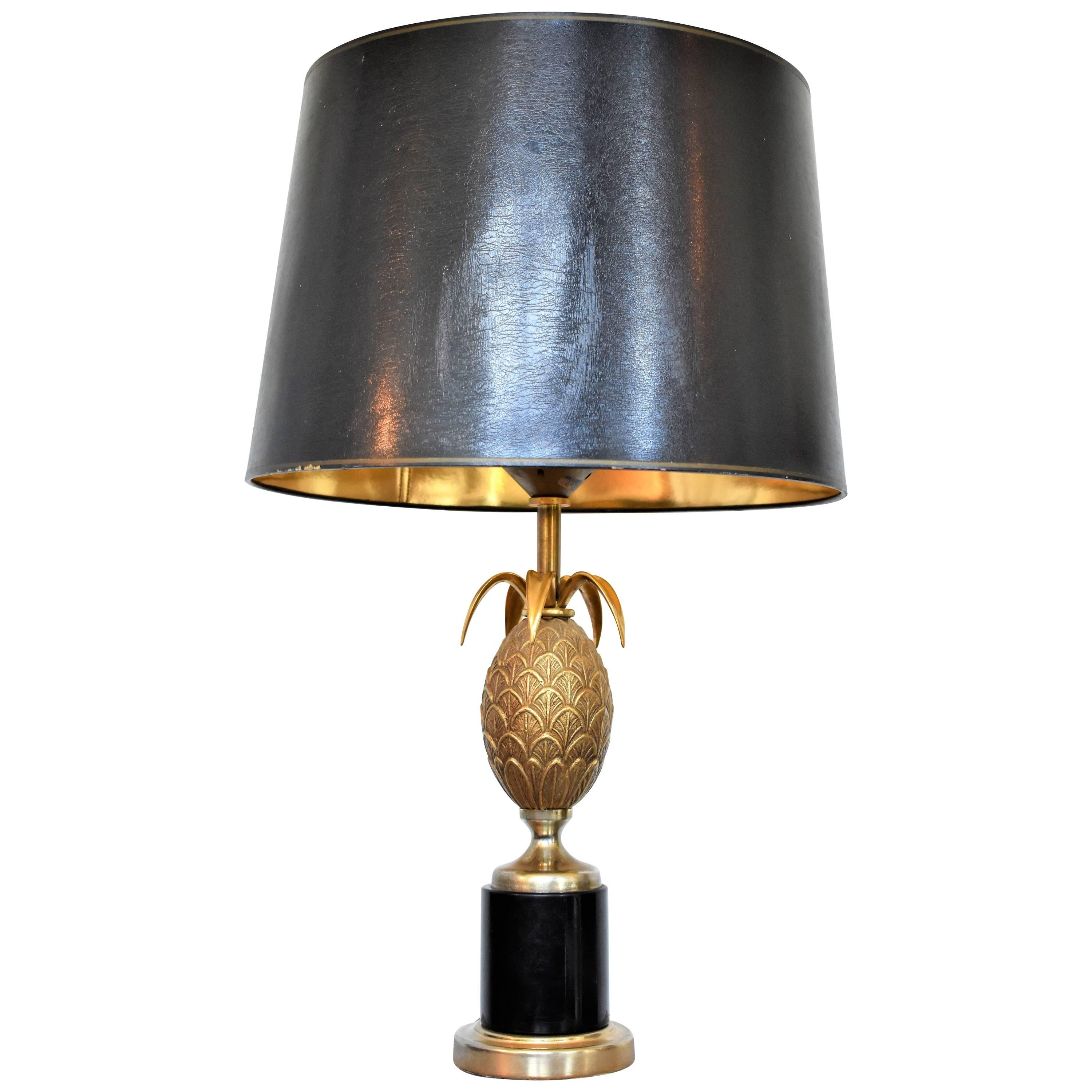 Vintage Pineapple Table Lamp in the Style of Maison Charles, Hollywood  Regency For Sale