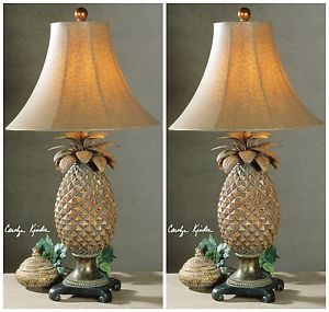 Image is loading NEW-PAIR-RUBBED-BROWN-GLAZED-PINEAPPLE-TABLE-LAMPS-