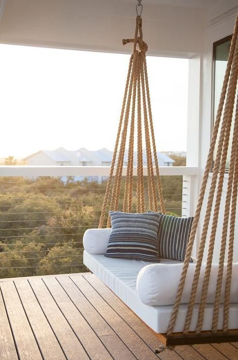 porch swing with jute rope hangers #outdoorgardens