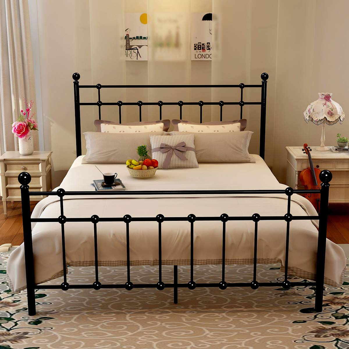 Traveller Location: Metal Queen Bed Frame Platform with Steel Headboard and  Footboard Black Iron Round Slat Mattress Foundation Modern Style No Box  Spring (Queen,