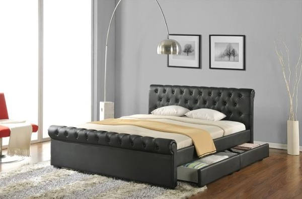 leather bed frame with headboard and footboard