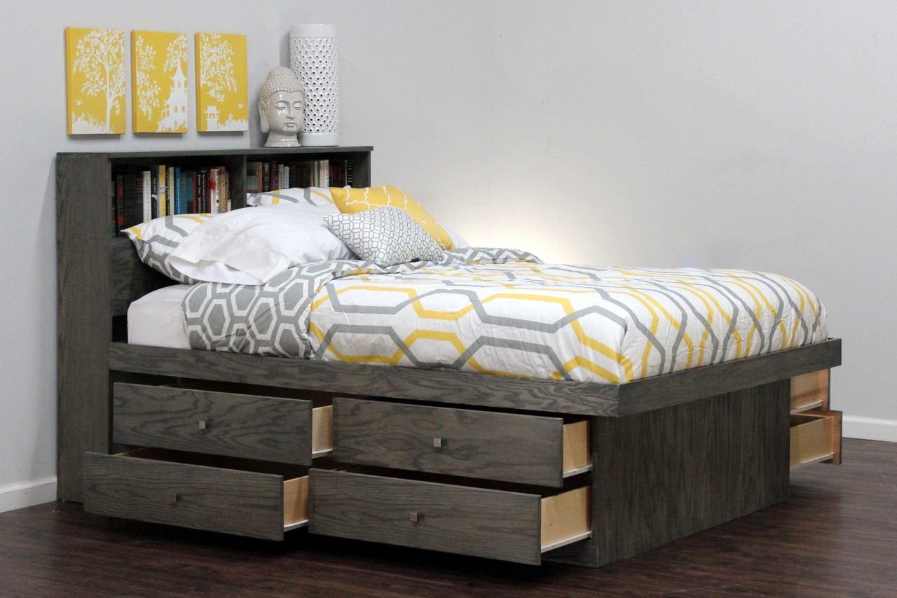 DIY Queen Platform Bed with Drawers