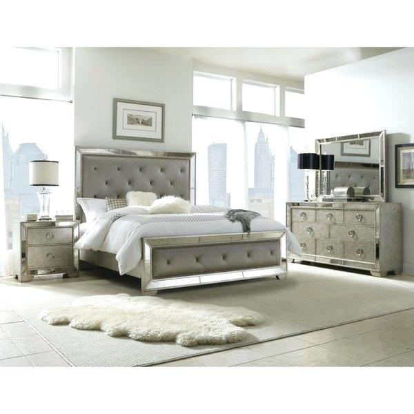Full Bed Bedroom Sets 5 Piece Mirrored And Upholstered Tufted Queen