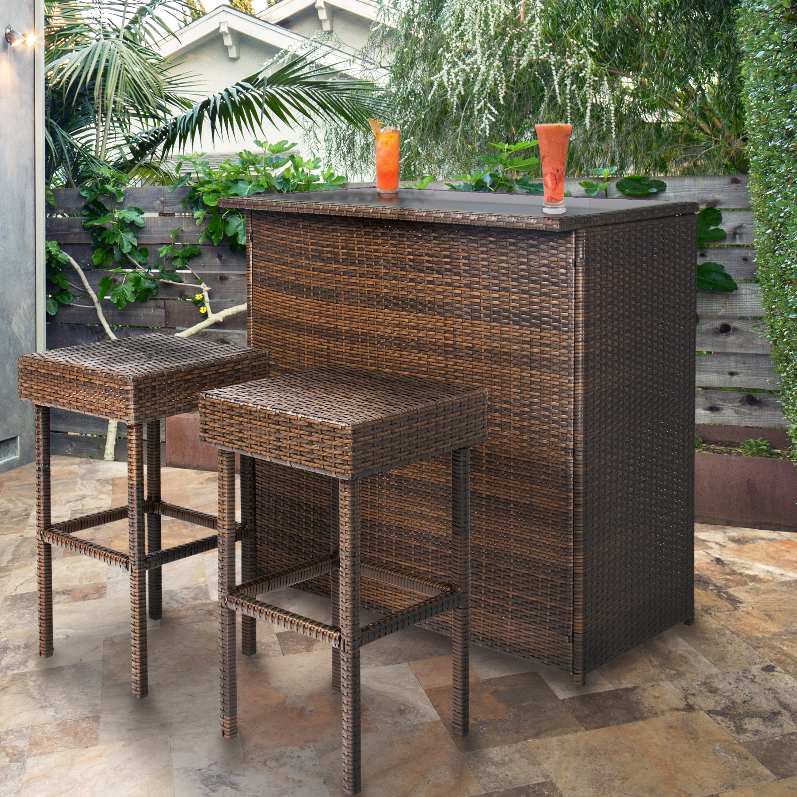 Best Choice Products 3PC Wicker Bar Set Patio Outdoor Backyard Table & 2  Stools Rattan Garden