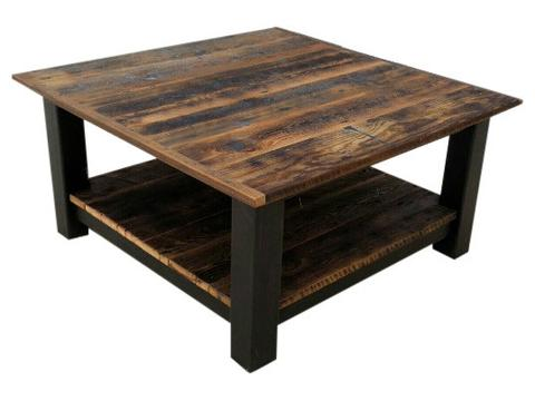 Reclaimed Barnwood & Black Steel Coffee Table u2013 Echo Peak Design