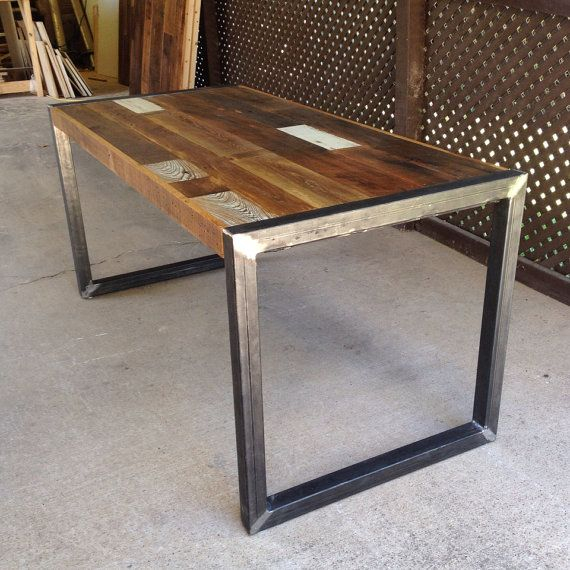 wood coffee table with metal legs Download-Reclaimed Wood Table or Desk  square metal legs