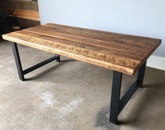 Reclaimed Oak Wood Coffee Table Metal Legs by wwmake on Etsy