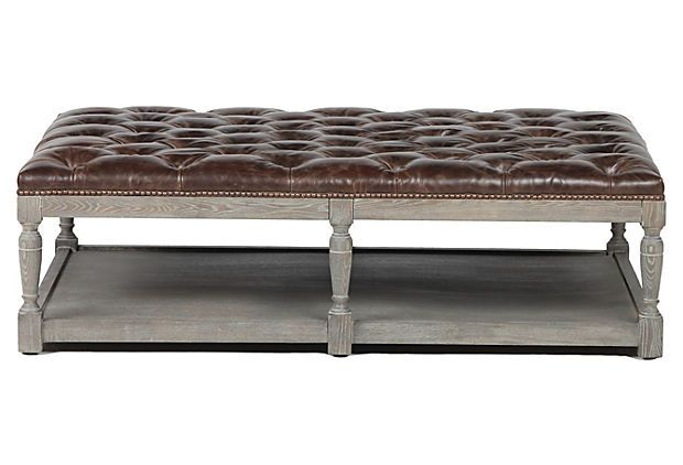 THIS IS THE PERFECT OTTOMAN COFFEE TABLE. Tufted leather is good for