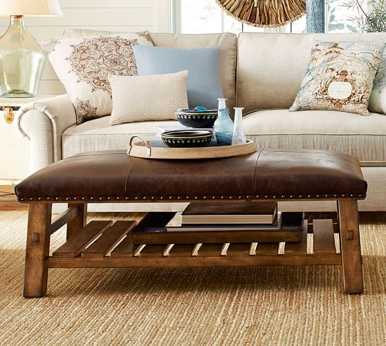 Rectangle leather ottoman coffee table   and other such furniture