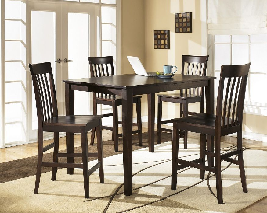 SKU P D258-223 casual pub table set dark brown wood, rectangular pub table  and 4 wood pub chairs.
