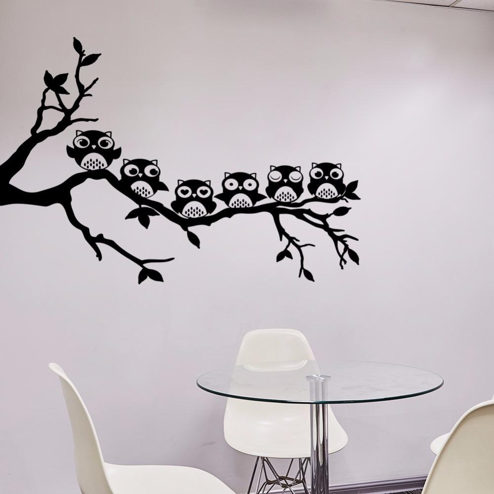 2018 New Design Owl Tree Wall Sticker Removable Vinyl Wall Decal Animal Art  Mural For Kids Rooms Bedroom Home Decor Butterfly Wall Decals Butterfly Wall