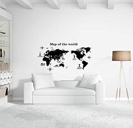 World Map Wall Decal - Educational Decals - World Map Wall Sticker - Vinyl  Wall Art