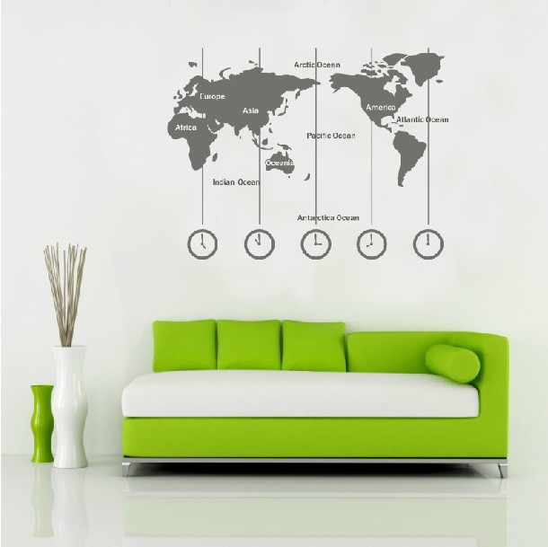 Removable Vinyl World Map Wall Decal Time Wall Art Clock Wall Sticker -  Wold map with time zone (L) by CustomWallDecal on Storenvy