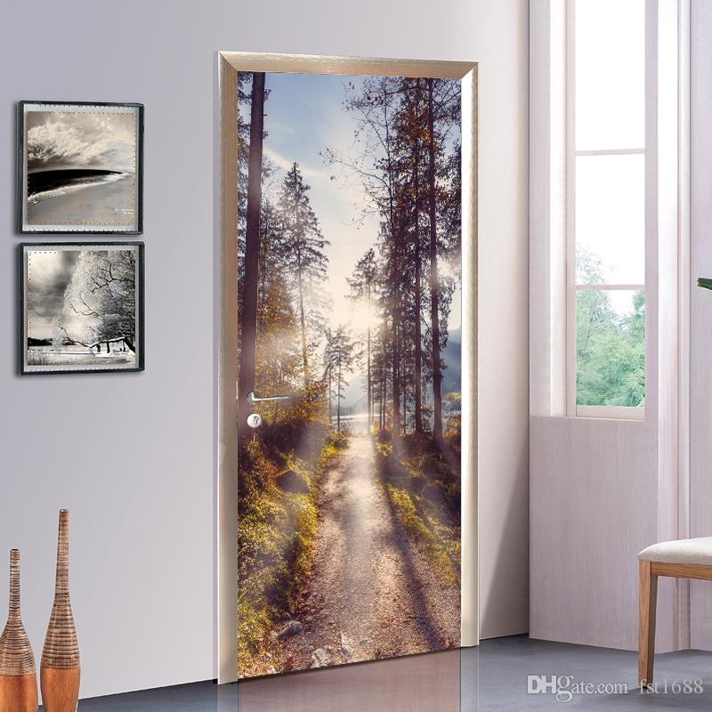 Removable Wall Mural Creative Chinese Style Tree Forest Depths Road 3D Door  Sticker Wallpaper Vinyl Art