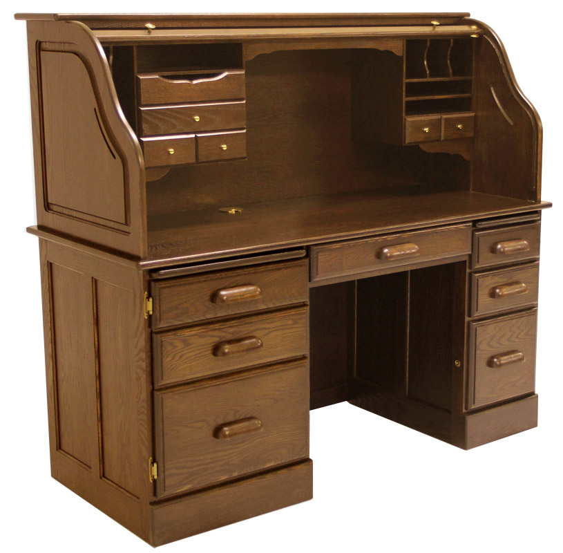 Rolltop Computer Desk in Briar Finish - IN STOCK! 60