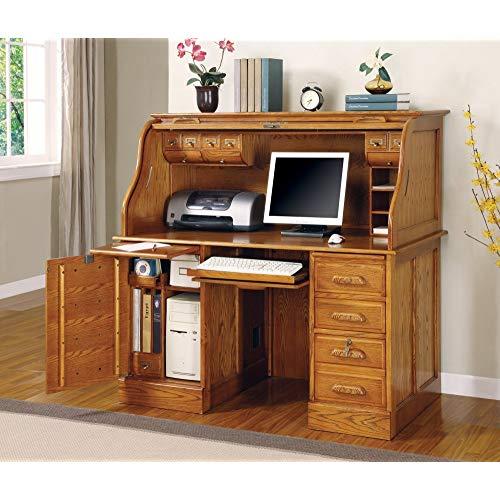 Oak Finish - Roll Top Desk by Coaster Furniture