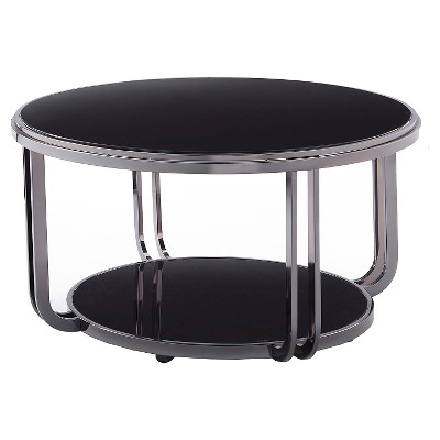 Round black glass coffee table for your   living room