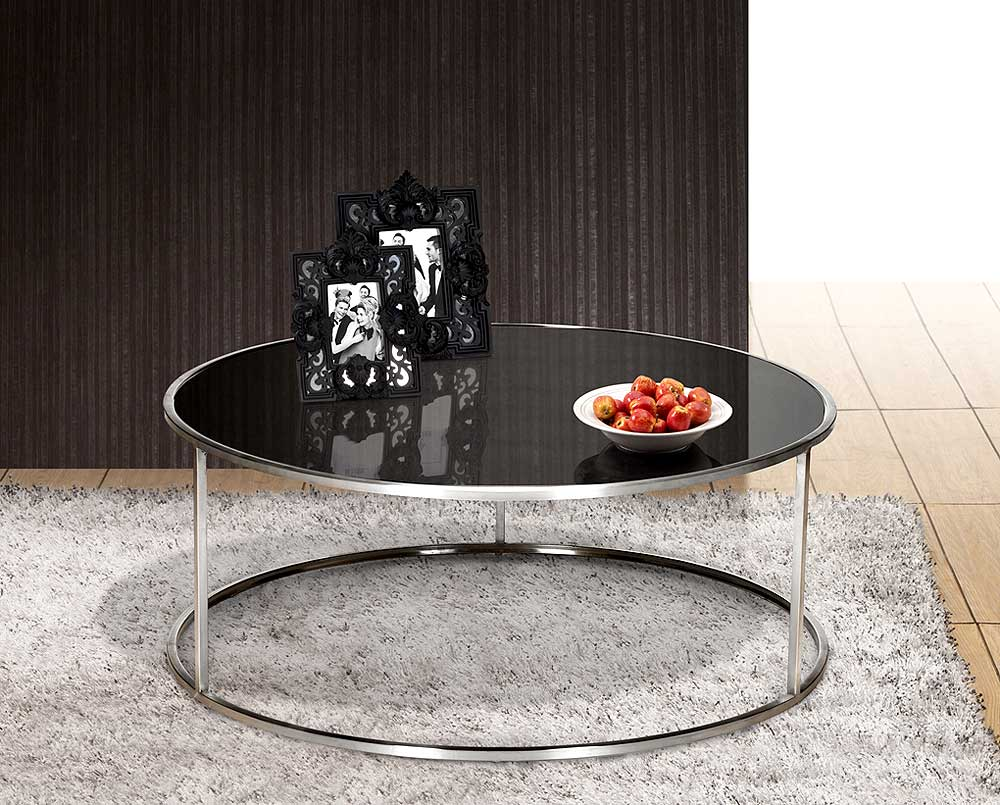 Black Round Coffee Table Glass