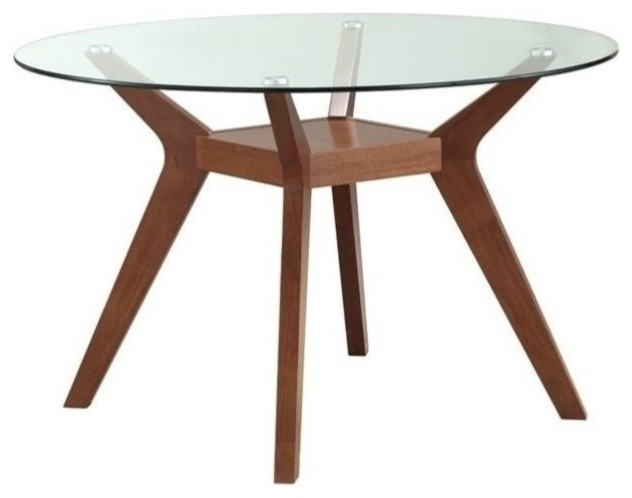 Coaster Paxton Round Glass Top Dining Table, Nutmeg