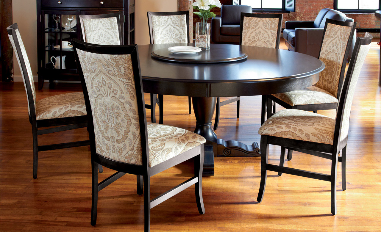 72 Inch Round Dining Table Decofurnish black glass round dining table and  chairs